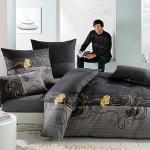 Bettwäsche - Bettgarnitur - schwarz,gold Blumen