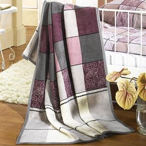 Decken - Schlafdecke florales Muster - violett,grau