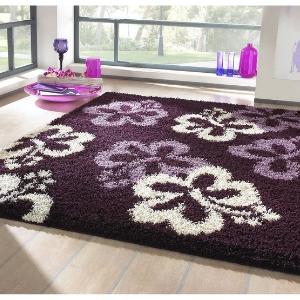 Hochflor Teppich - Blumen violett
