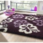 Teppiche - Hochflor Teppich - Blumen violett