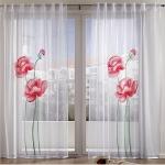 Vorhänge - Langstore Blumenmuster weiß