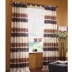Vorhänge - Voile Vorhang braun/weiß - gestreift