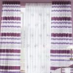Vorhänge - Vorhang Fertigschal violett gestreift