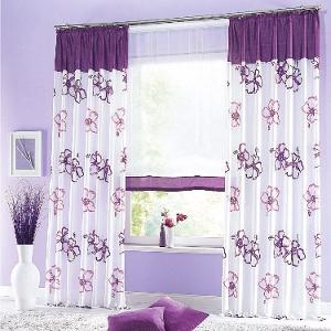 Vorhänge - Vorhang violett Blumen weiß